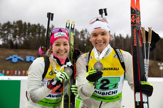 Steffi Scherer und Justus Strelow holen Silber in der Single-Mixed-Staffel