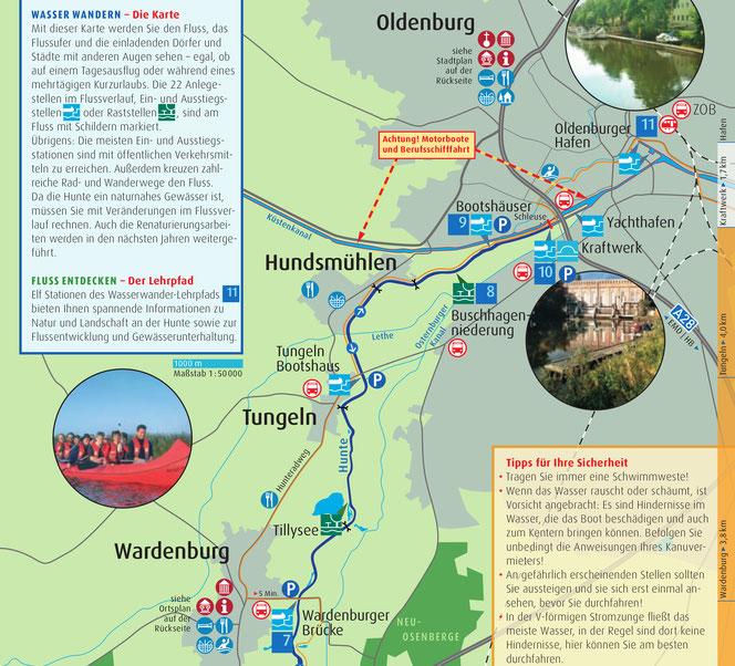Karte der Kanutour von Wardenburg nach Oldenburg
