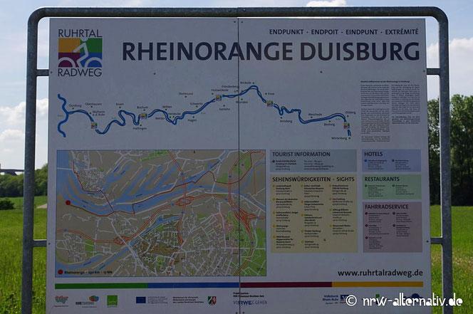 Rheinorange Duisburg Ruhrtalradweg Schild Ende Radtour