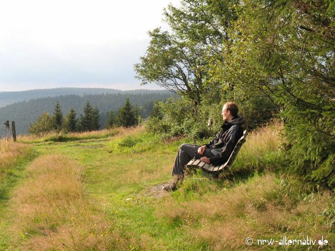 Mann auf Bank, der ins Tal schaut - aufgenommen bei Winterberg.