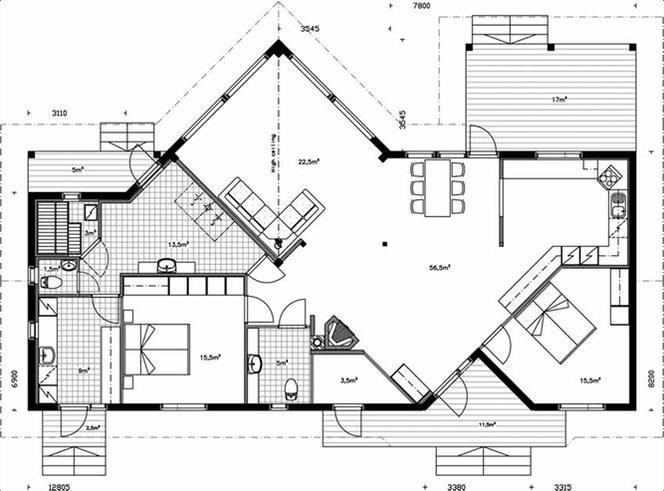 Architektenhaus - Wohnblockhaus auf einer Ebene -Blockhaus Bungalow - Holzhaus Singlehaus - Hausbau - Holzbau - Blockhäuser bauen - 50plus - Architektenhäuser  -Passgenaue Qualitätsarbeit - Blockhaus bauen - Deutschland - Hausbau