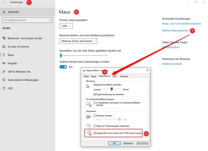Windows 10 - Einstellungen für die Maus- Weitere Mausoptionen- Zeigeroptionen- Zeigerposition beim Drücken der STRG-Taste anzeigen