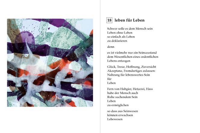 Eine von 40 Doppelseiten, die einen beispielhaften Dialog von Poesie & Farbe zeigen