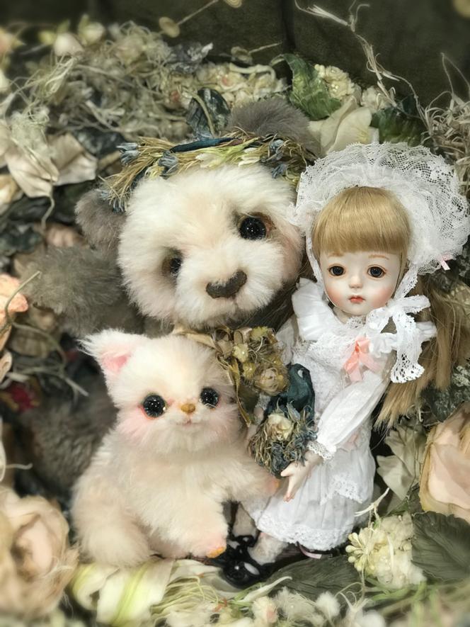 ちゃおさんのお人形とパンダと子ネコ
