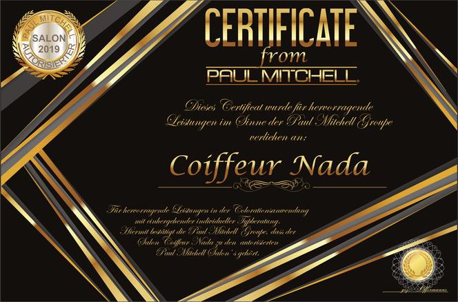 Coiffeur Nada Paul Mitchell Zertifikat