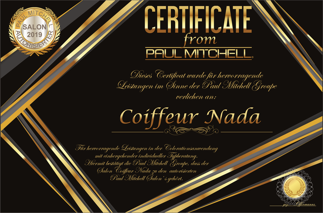 Friseur Coiffeur Nada in Aachen Paul Mitchell Zertifikat