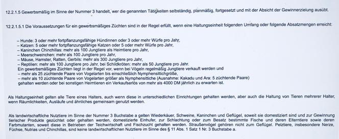 AVV - Allgemeine Verwaltungsvorschrift zur Durchführung des Tierschutzgesetzes, 12.2.1.5.1