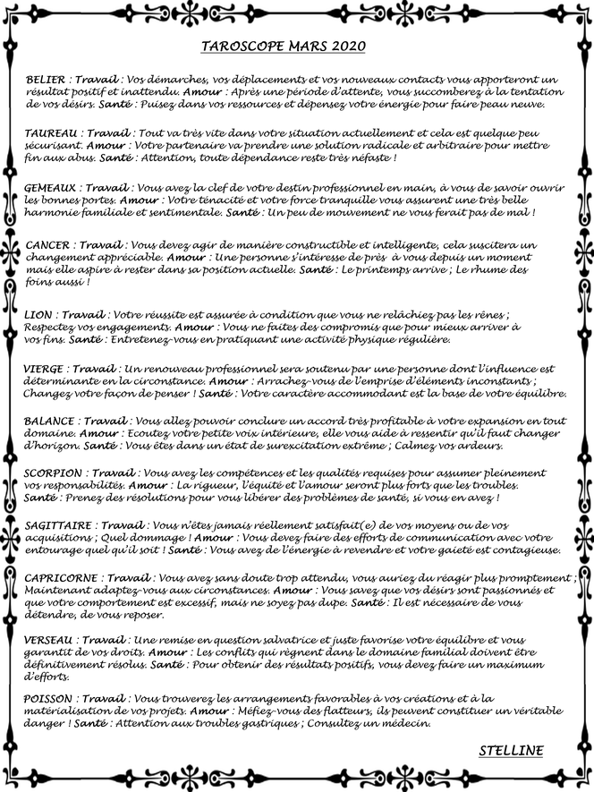 Taroscope de Mars 2020 par Stelline Voyance