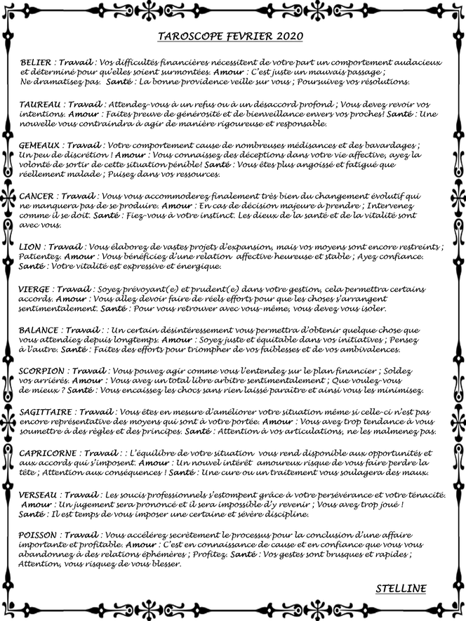 Taroscope de Février 2020 par Stelline Voyance
