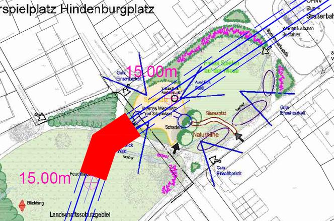 Abb. 2: Skizze zum Seilbahnbahnhof am Hindenburgplatz. Quelle: Auszug aus Anhang 2 der Machbarkeitsstudie
