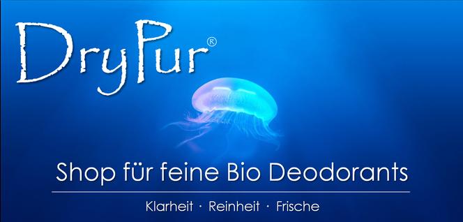Bio Deo ohne Aluminium Drypur Naturkosmetik Wasser Qualle blau Shop Presse kaufen