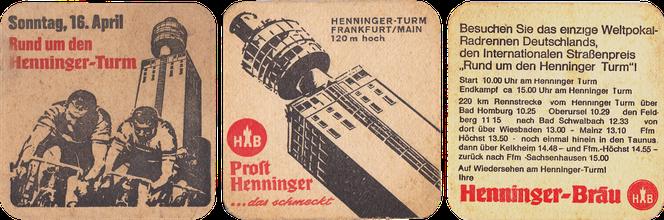 Bierdeckel Henningerturm Prost Henninger Rund um den Henningerturm