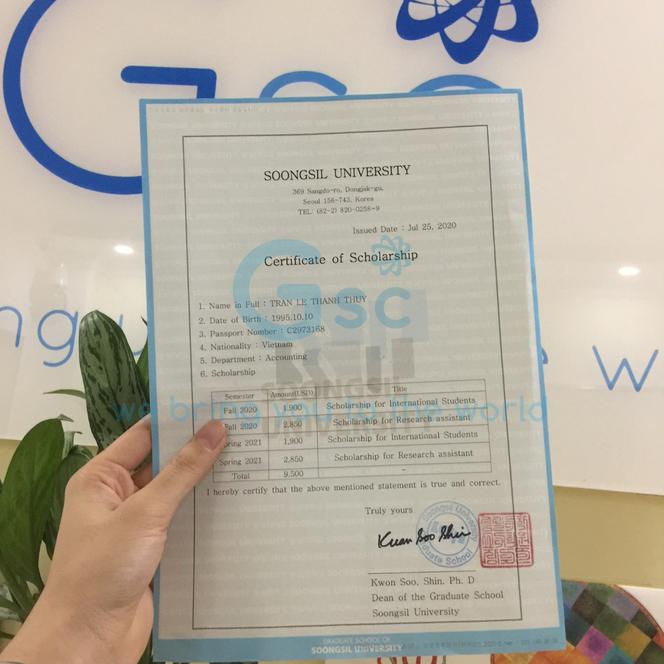 Sinh viên GSC được học bổng 9500$, thạc sĩ trường đại học Soongsil