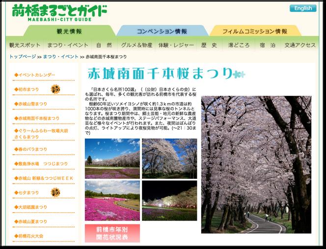 前橋まるごとガイド 赤城南面千本桜まつり