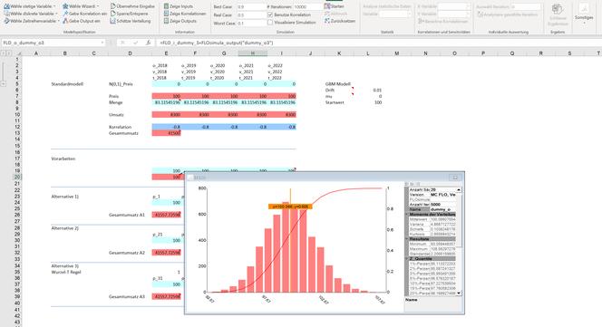 Monte Carlo Simulation Excel geometrische brownsche Bewegung MC FLO