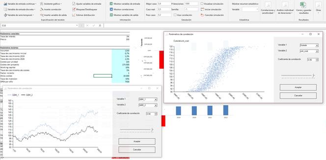 correlaciones excel simulación monte carlo MC FLO