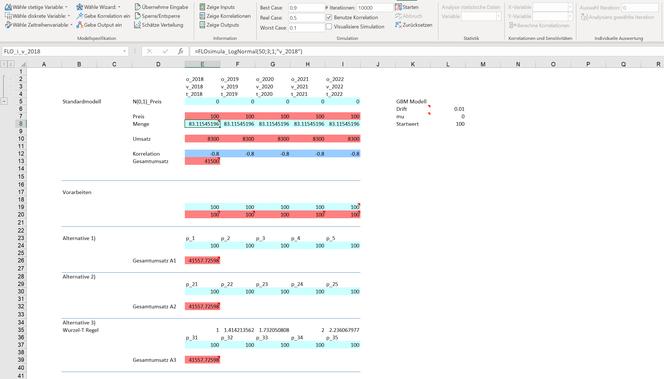 Monte Carlo Simulation Excel geometrische brownsche Bewegung Planung Zeitreihe MC FLO