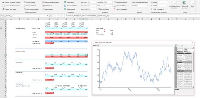 MC FLO Monte Simulation Excel geometric Brownian motion adjustes price path time series