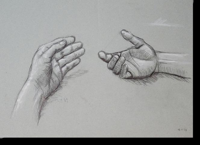 Zeichnung zweier Hände von Bildhauer Gunter Schmidt. Kohle und Kreide Zeichnung. Zeichnung auf Tonpapier zwei Hände. mit Weiß gehöhte Kohlezeichnung.