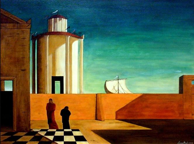 """Giorgio De Chirico, """"L'enigma dell'arrivo e del pomeriggio"""" (1911)"""