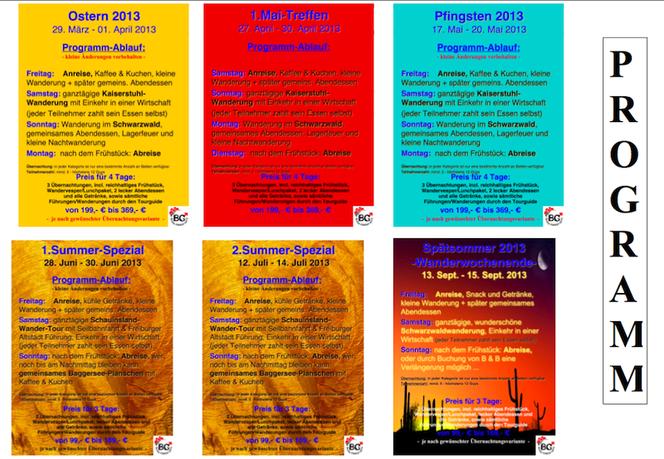2013 Schwule Wandergruppe Programme