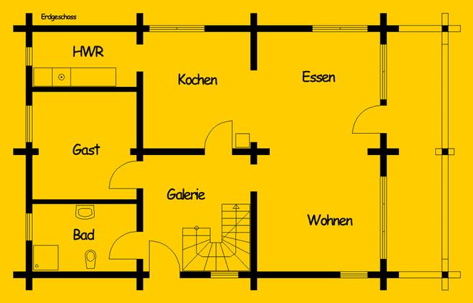 Blockhaus als Wohnhaus -Hamburg: Wohnfläche EG 79 m² - © Blockhaus-Profi