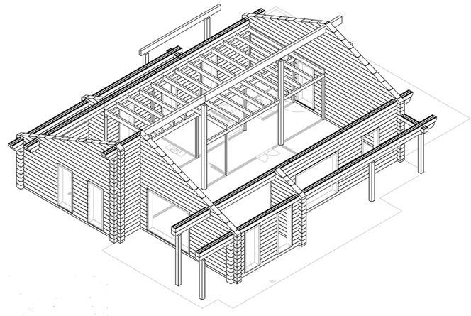 Ebenerdiges Einfamilienhaus - Holzhaus in massiver Blockbauweise in Bayern - Musterhaus - Referenzhaus - Hausbesichtigung - Einfamilienhaus -  Holzhaus in massiver Blockbauweise - Gesundes Bauen mit Holz - Finnisches Holzhaus - Individuelle Planung -  Bau