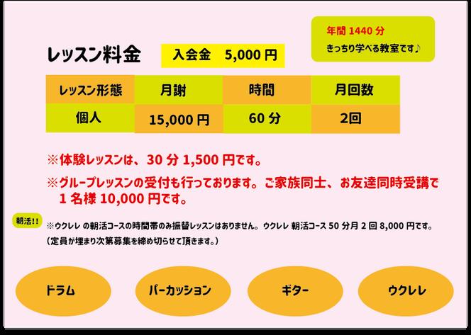 体験レッスン30分 1500円 開講日 水曜日&木曜日 10:00~20:001回60分月2回 レッスン(年間24回 1440分)振替レッスン可お月謝制 個人レッスン 15000円(税込)入会金 5000円  大人の方の受付も行なっております。ウクレレ(限定3名様の朝活コース) 月8000円 特別価格の為、こちらのコースのみ振替レッスンはありません。
