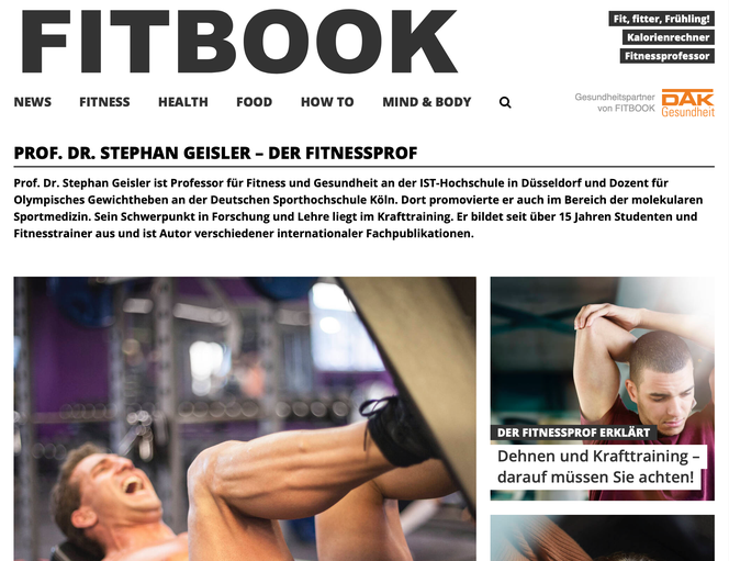 Der Fitnessprofessor im Online-Portal FITBOOK.de