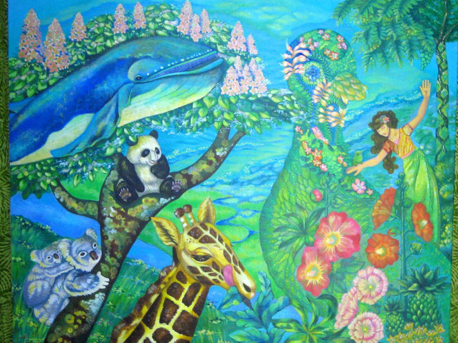 地球の仲間 絵画 楽園のアート 立花雪 YukiTachibana