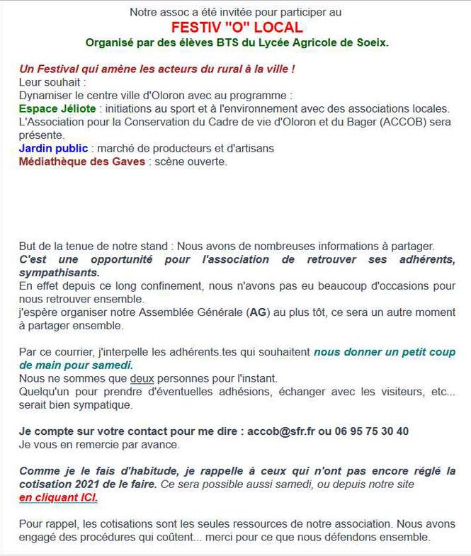 """Samedi 12 juin 2021, Place Jéliotte à Oloron, nous participons au FESTIV """"O""""LOCAL - ACCOB au N°8"""