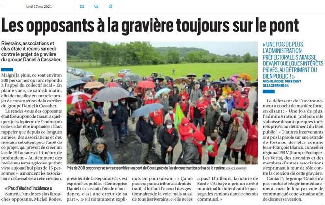 On parle de la manifestation contre la carrière de Carresses Cassaber sur la République des Pyrénées