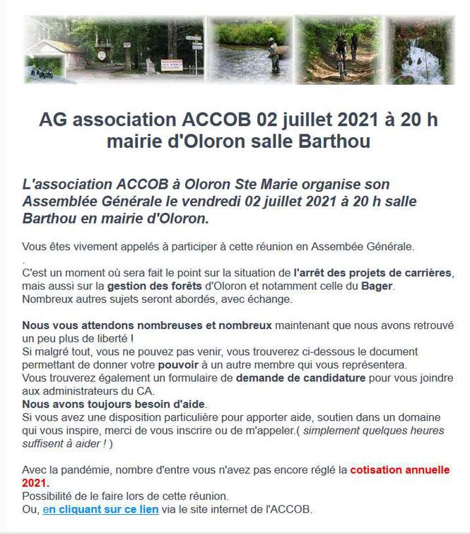 Assemblée Générale association ACCOB le vendredi 02 juillet à 20 h salle Barthou , mairie d'Oloron