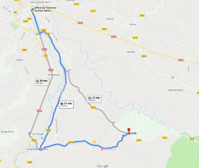 Itinéraires partant d'Oloron Ste marie vers la Borne 12 en forêt du Bager d'Oloron - ACCOB