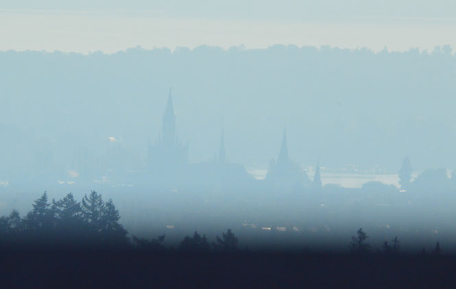 das Münster im Morgendunst vom Napoleonturm aus