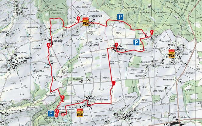 der Panorama-Rundweg Wäldi auf der Karte von SchweizMobil
