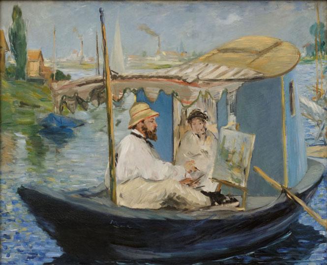 エドゥアール・マネ《アトリエ舟で描くモネ》1874年