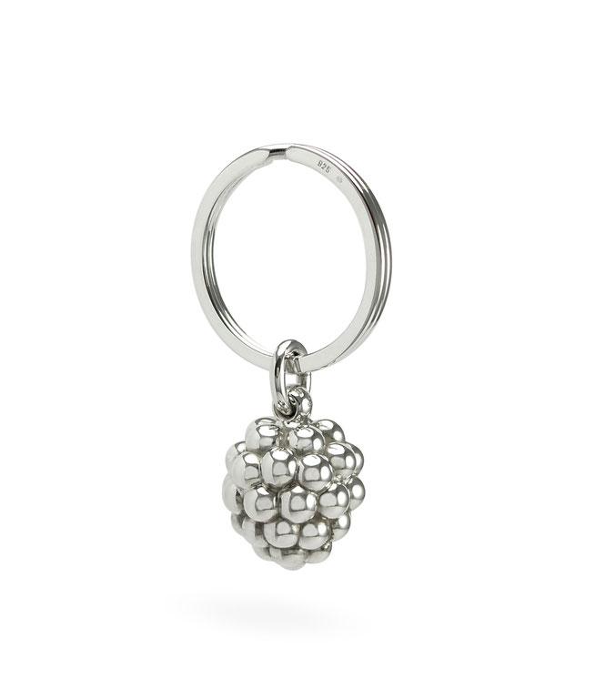 silberner Schlüsselanhänger grosse Beere Brombeere Weintraube, Key ring pendant keychain big berry raspberry blackberry grape