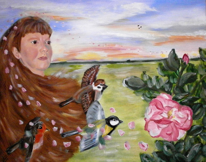 Birds, roses and me 40x50 cm 2005