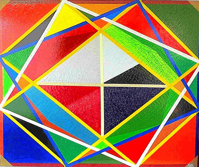 Anschauen und /oder anfassen, beide arten der Betrachtungsweise sind erwünscht, da es nicht nur bunte, sondern auch unterschiedlich strukturierte Flächen hat. Die mittleren Linien sind fluoreszierende Farbenspiele.