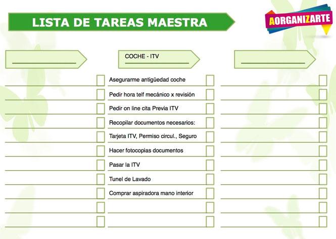 apuntate todas las tareas previas necesarias para pasar la ITV en tu lista maestra - AorganiZarte
