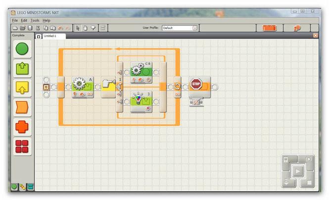 graphische Programmier-Oberfläche bei LEGO MINDSTORMS NXT