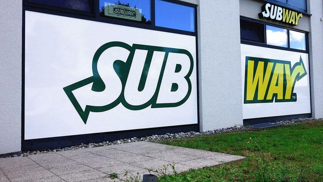 Schaufensterbeschriftung mit Digitaldruck Subway Schwäbisch Hall Rundumwerbung Andreas Trump Crailsheim