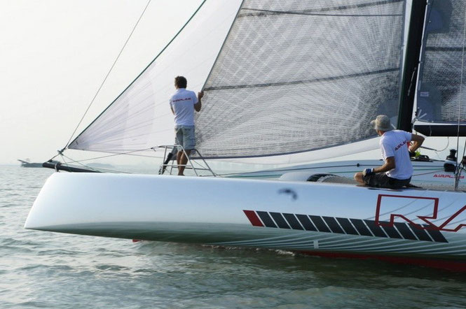 Trailerable trimaran Raw 30 undergoing sea trials in China