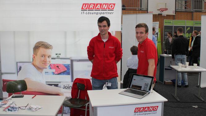 Die URANO-Azubis Mathias Baus und Clemens Fregona auf der BIM2020.