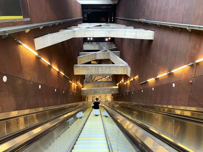 Escalators in Budapest Subway