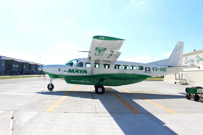 Small Maya airline plane