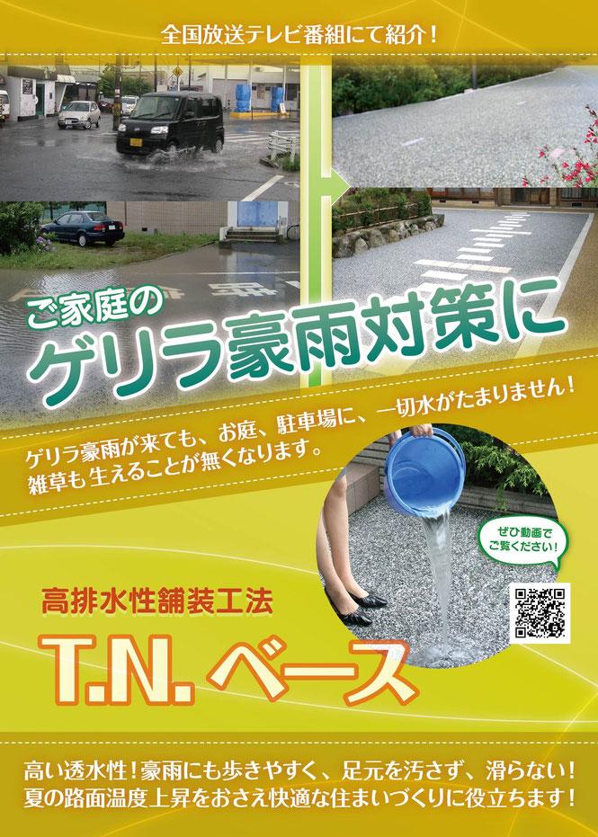 ゲリラ豪雨 水たまり 駐車場 コンクリート 土砂 水はけ 冠水 庭 芝生 外溝 ぬかるみ対策 水浸し
