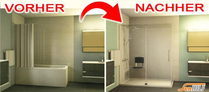 Umbau Badewanne Zur Dusche Kosten : SenHILF Wanne zur Dusche – Badewanneneinstieg – Badewannent?r www