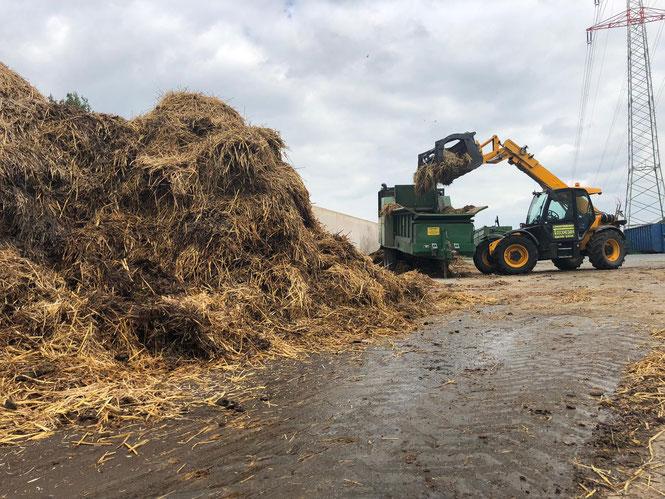 Auf dem Bild wird der Schredder mit Biomasse befüllt.